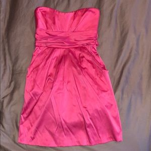 Pink Strapless Cocktail Dress with Side Pockets